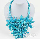 Lake Blue Seires Big Style Lake Blue Freshwater Pearl and Shell Flower Party Necklace
