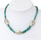 16.5 inches turquoise tibet silver bead necklace