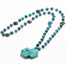 trendy long style big coral and turquoise beaded necklace