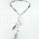 Engraved grey agate necklace