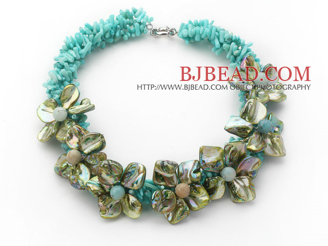 Apple Green Series Apple Green Coral and Green Shell Flower Party Necklace