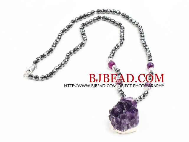 Simple Single Strand Faceted Hematite Beads Necklace with Crystallized Amethyst Pendant