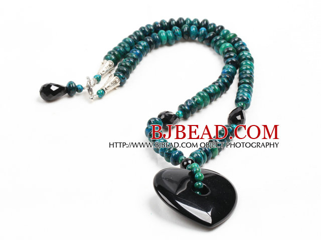 Vintage Style Abacus Shape Phoenix Stone Heart Shape Black Agate Pendant Necklace