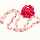 Trendy Simple Style Long Cherry Quartz Chips Necklace with Hot Pink Statement Flower Charm