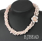Rose quartz pearl necklace