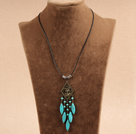 Simple Vintage Style Chandelier Shape Eye Shape Turquoise Tassel Pendant Necklace With Black Leather