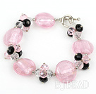 pink crystal and colored glaze bracelet with toggle clasp under $ 40