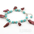 turquoise and pearl bracelet with lobster clasp