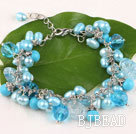 Fancy blue freshwater pearl crystal and turquoise bracelet with lobster clasp