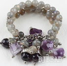 Multi Strand Flashing Stone and Amethyst Elstic Bangle Bracelet
