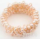 Natural Pink Freshwater Pearl Wrap Bangle Bracelet