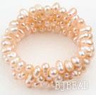 Natural Pink Freshwater Pearl Wrap Bangle Bracelet under $ 40