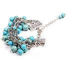 Fashion Multi Strand Round Turquoise Beads Charm Bracelet