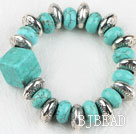 Elastic assorted square and drum shape turquoise bangle bracelet