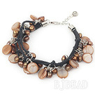dyed brown pearl shell bracelet with lobster clasp