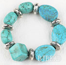 Chunky style elasic assorted multi shape turquoise bangle bracelet