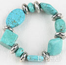 Stretch assorted multi shape turquoise bangle bracelet