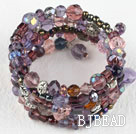 Assorted multi color crystal multi wrap bangle bracelet