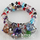 popular 7.5 inches three strand multi color crystal bracelet bangle
