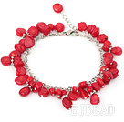red coral bracelet with metal chain and lobster clasp