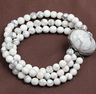 Fashion Three Strand 6Mm White Howlite Beads Bracelet