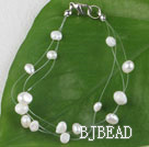 7.5 inches white pearl bracelet with lobster clasp under $ 40