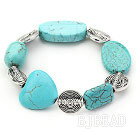 Stretch chunky style assorted shape turquoise and flower beads bangle bracelet under $2.5