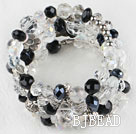 7.5 inches multi strand stretchy white and black crystal bracelet bangle