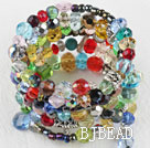 7.5 inches multi strand stretchy colorful stone bracelet bangle