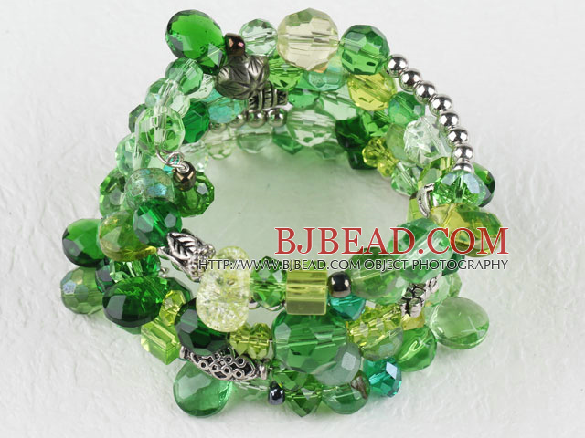 7.5 inches multi strand stretchy green crystal bracelet bangle