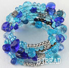 7.5 inches multi strand stretchy blue crystal bracelet bangle
