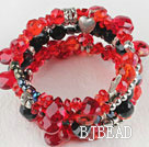 7.5 inches multi strand stretchy red and black crystal bracelet bangle