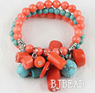 elastic style 7.5 inches pink coral and turquoise bracelet