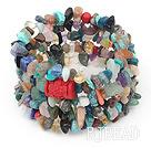 multi strand seven colored pearl and cinnaba bracelet