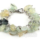 Assorted Prehnite Bracelet with Bold Style Metal Chain