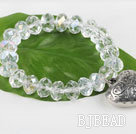 7.5 inches elastic clear crystal bracelet with heart charm under $ 40