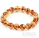 10mm Round Immitation Amber Elastic Bangle Bracelet under $ 40