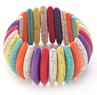 Classic Design Long Spike Shape Multi Color Turquoise Stretch Bangle Bracelet