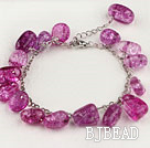 Purple Red Burst Pattern Crystal Bracelet with Adjustable Chain