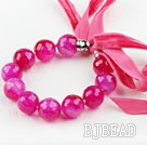 Brilliant Rose Color Agate Beaded Bracelet with Ribbon
