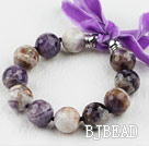 Multi Color Amethyst Beaded Bracelet with Ribbon