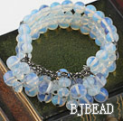 Multi Strand Opal Crystal Elastic Bangle Bracelet