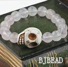 Round Rose Quartz and Turquoise Skull Elastic Bracelet