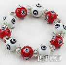 White and Red Color Eye Shape Colored Glaze Elastic Bracelet under $ 40