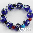 Dark Blue Color Eye Shape Colored Glaze Elastic Bracelet under $ 40