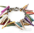 Multi Color Long Teeth Shape Shell Bracelet with Metal Chain