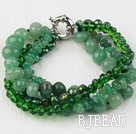 Multi Strand Deark Green Peark Crystal and Aventurine Bracelet with Moonlight Clasp