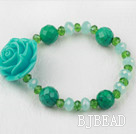 Xinjiang Turquoise and Green Crystal Flower Elastic Bracelet