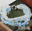 Multi Strand White Freshwater Pearl Crystal and Opal Bracelet