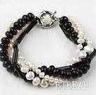 Multi Strand White Freshwater Pearl and Black Agate Bracelet under $ 40